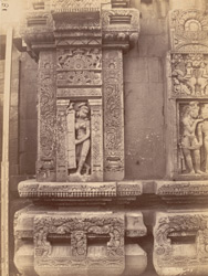 Sculpture panel to left of Durga niche on north wall of sanctuary tower, Vaital Deul Temple, Bhubaneshwar